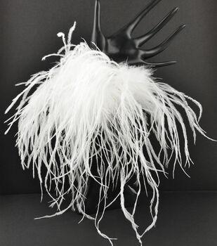 Feather Ostrich/Marabou Elastic Cuff White, 1 pair