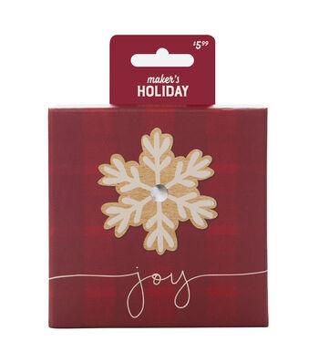Maker's Holiday Tin-Red Plaid Snowflake Joy