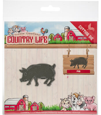 Yvonne Creations Country Life 2.13''x1.38'' Cutting Die-Pig