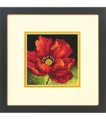 Dimensions Barbara Mock Mini Needlepoint Kit-Red Poppy