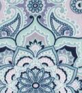 Anti-Pill Plush Fabric-Blue & Green Medallions