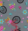 Novelty Cotton Fabric-Floral Bike