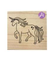 Hampton Art 3''x3'' Wood Mounted Rubber Stamp-Unicorn, , hi-res