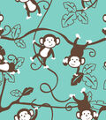 Snuggle Flannel Fabric -Monkey On Teal