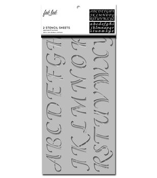 Fab Lab 2 pk Stencil Sheets-Calligraphy Uppercase & Lowercase Alphabet