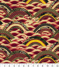 Asian Inspired Cotton Fabric 44\u0022-Rolling Hills Metallic