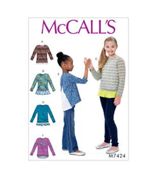 McCall's Pattern M7424 Girls' Knit Tops with Hemline Variations