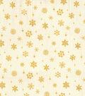 Maker\u0027s Holiday Osnaburg Cotton Print Fabric 44\u0027\u0027-Metallic Gold Snowflake