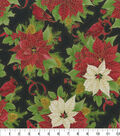 Maker\u0027s Holiday Cotton Fabric 44\u0022-Cardinals and Poinsettias