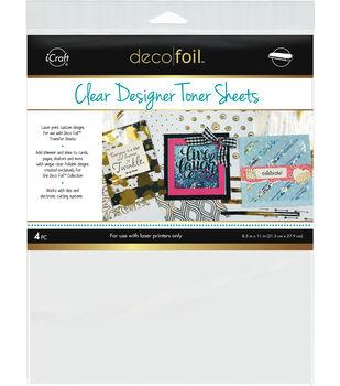 Deco Foil 4 pk 8.5''x11'' Printable Clear Designer Toner Sheets