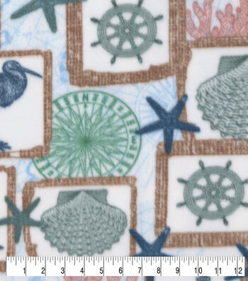 Anti-Pill Plush Fleece Fabric-Nautical Patchwork