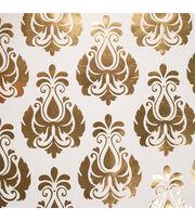 """Teresa Collins Studio Gold Foiled Gift Wrap 30""""X30"""" 2/Pkg-Damask, , hi-res"""
