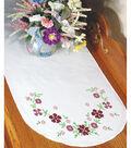 Fairway Needlecraft 15\u0027\u0027x42\u0027\u0027 Stamped Perle Edge Dresser Scarf-Floral