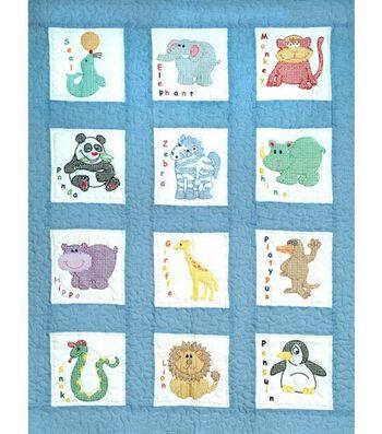 Jack Dempsey Stamped Nursery Quilt Blocks Zoo Animals