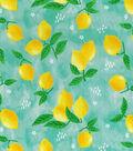 Novelty Cotton Fabric-Lemons On Aqua