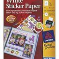Ink Jet 8-1/2\u0022X11\u0022 Printable Sticker Project Paper W/CD-Matte White