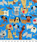 Novelty Cotton Fabric-Blue Dogs Everywhere