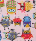 Anti-Pill Fleece Fabric -Owls on Pink