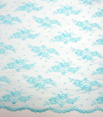 Casa Collection Chantilly Lace Fabric 54''-Blue Radiance