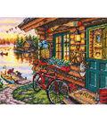 Gold Petite Cabin View Counted Cross Stitch Kit-7\u0022X5\u0022 18 Count