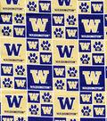 University of Washington Huskies Cotton Fabric -Block