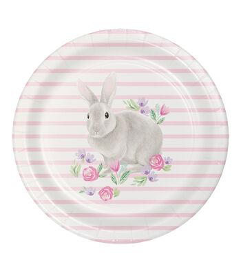 Easter Decor 8 pk Paper Dinner Plates-Bunny & Flowers on Stripes