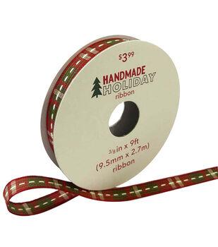 Handmade Holiday Christmas Ribbon 3/8''x9'-Red & Green Plaid