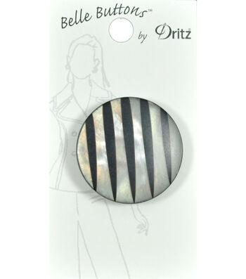Dritz 34mm Belle Button Fashion Stripe Gray Black