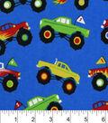 Snuggle Flannel Fabric 42\u0022-Monster Trucks
