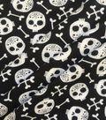 Halloween Doodles Cotton Interlock Fabric-Skulls & Bones