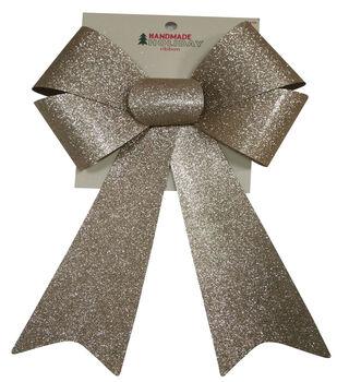 Handmade Holiday Christmas 9'' Glitter Bow-Champagne