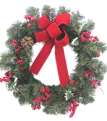 Blooming Holiday 24'' Berry, Pine, Pinecone & Bow Wreath-Red & Green