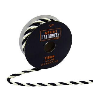 Maker's Halloween Decor Cord Ribbon 1/6''x9'-Black & White