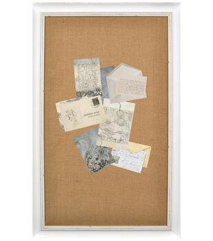 Wood & Burlap Bulletin Board-White Wash