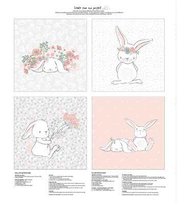 Nursery Fabric Panel 36''x43''-Bunny Wall Art