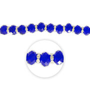 "Blue Moon Beads 7"" Crystal Strand, Rondelles with Metal Spacers, Royal Blue, , hi-res"