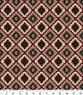 Snuggle Flannel Fabric -Red & Beige Aztec