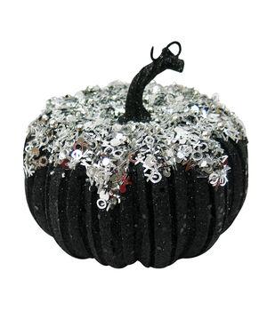 Maker's Halloween Small Black Silver Pumpkin