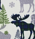 Snuggle Flannel Fabric -Patterned Black Watch Moose
