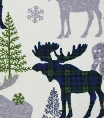 "Snuggle Flannel Fabric 42""-Patterned Blackwatch Moose"