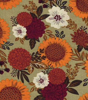 Fall Harvest Cotton Fabric- Sunflower And Mum Bouquets