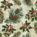 Christmas Cotton Fabric-Pinecone Berry Holly Metallic