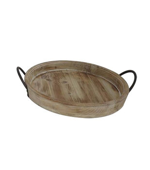 Simply Spring Crafts Wood Circle Tray-Rustic