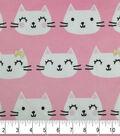 Soft & Comfy Fleece Fabric-Kitty with Metallic Bow