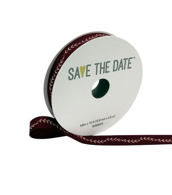 """Save the Date 5/8"""" x 15ft Ribbon-Blush Fern On Cranberry"""