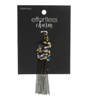 hildie & jo Effortless Charm Metal Tassel-Iridescent Stones