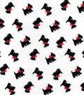 Snuggle Flannel Fabric 42\u0022-Scotties Tossed On White