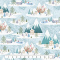 Christmas Cotton Fabric-Alpine Village Blue