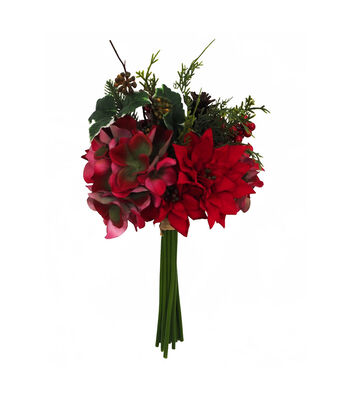 Blooming Holiday 14'' Poinsettia, Hydrangea & Greenery Bouquet-Red
