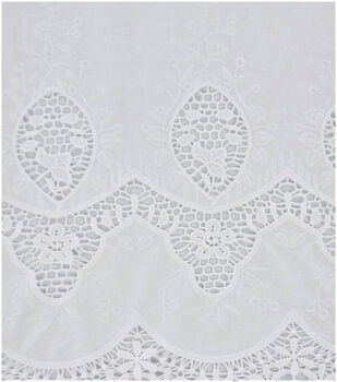 Cotton Apparel Crochet Fabric 47''-White Scalloped